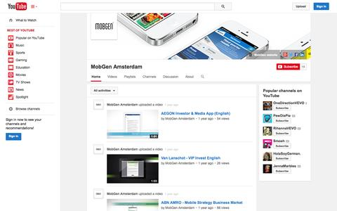 Screenshot of YouTube Page youtube.com - MobGen Amsterdam  - YouTube - captured Oct. 23, 2014