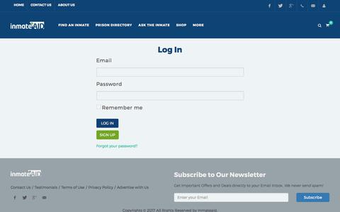 Screenshot of Login Page inmateaid.com - Help for Inmates Before, During and After Prison - captured July 7, 2017