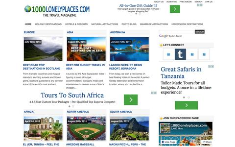 Screenshot of Home Page 1000lonelyplaces.com - A WEEKEND BREAK - captured Jan. 16, 2016
