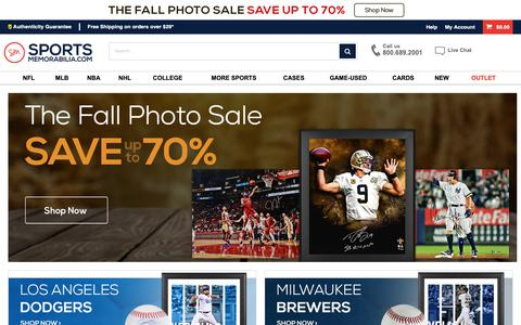 Screenshot of Home Page sportsmemorabilia.com - Sports Memorabilia, Autographs, Signed NFL, MLB, NBA - Fast Shipping - captured Oct. 11, 2018