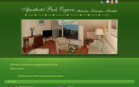 Screenshot of Home Page Privacy Page makarska-park-osejava.de - **** Apartel Park Osejava **** - captured June 8, 2016