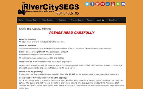 Screenshot of FAQ Page rivercitysegs.com - FAQ's and Activity Policies - River City Segs - captured Sept. 30, 2014