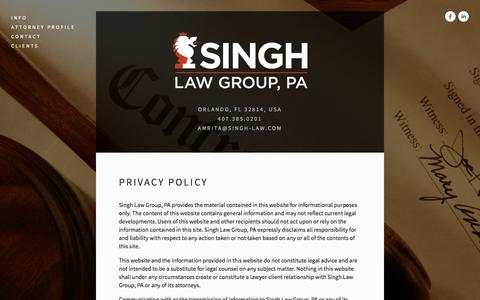Screenshot of Privacy Page singh-law.com - Privacy Policy — SINGH LAW GROUP, PA - captured Oct. 7, 2014