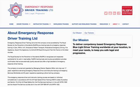 Screenshot of About Page emergencyresponsedrivertraining.co.uk - ABOUT - Emergency Response Vehicle Training - captured Jan. 28, 2016