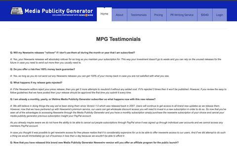 Screenshot of FAQ Page mediapublicitygenerator.com - Media Publicity Generator - captured Jan. 19, 2016