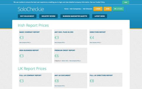 Screenshot of Pricing Page solocheck.ie - SoloCheck.ie Pricing - Irish Company Info - SoloCheck - captured Nov. 4, 2014
