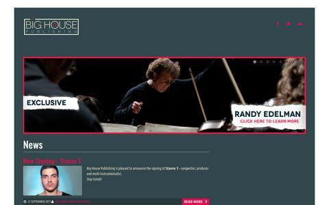 Screenshot of Home Page bighousepublishing.com - Big House Publishing | New York-based Full Service Indie Music Publisher - captured Oct. 10, 2017
