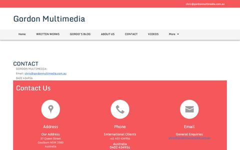 Screenshot of Contact Page gordonmultimedia.com.au - Gordon Multimedia - Contact-Gordon Multimedia - captured July 22, 2018
