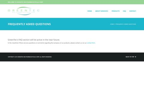 Screenshot of FAQ Page greentecbp.com - Frequently Asked Questions | - captured Oct. 3, 2014