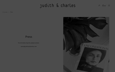 Screenshot of Press Page judithandcharles.com - Press – Judith & Charles - captured Dec. 20, 2018