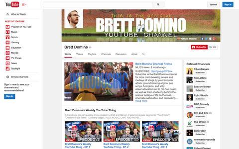 Screenshot of YouTube Page youtube.com - Brett Domino  - YouTube - captured Oct. 22, 2014