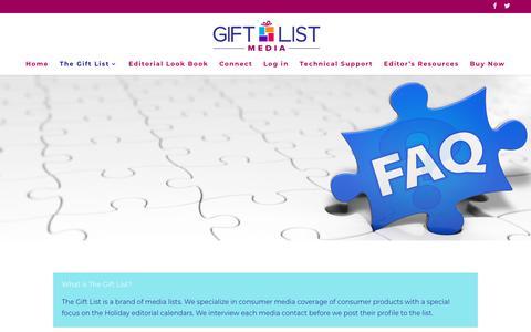 Screenshot of FAQ Page giftlistmedia.com - FAQs - Gift List Media - captured July 19, 2018