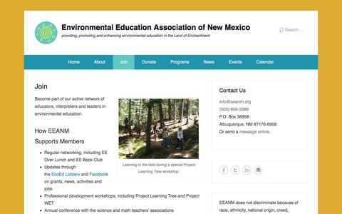 Screenshot of Signup Page eeanm.org - Join - Environmental Education Association of New Mexico - captured Jan. 30, 2016