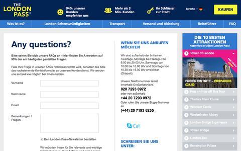 Screenshot of FAQ Page londonpass.de - London Pass Contact Details - London Pass Customer Service Details - captured June 23, 2017