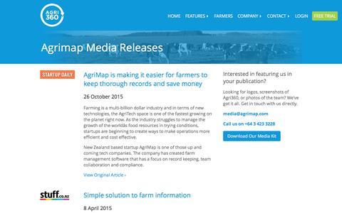 Screenshot of Press Page agrimap.com - Agrimap Media Releases | New Zealand Farm Software - captured Dec. 28, 2015