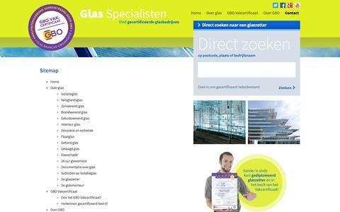 Screenshot of Site Map Page glasspecialisten.nl - Contact - Sitemap  - glasspecialisten.nl - captured Oct. 26, 2014