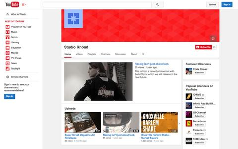 Screenshot of YouTube Page youtube.com - Studio Rhoad  - YouTube - captured Oct. 24, 2014