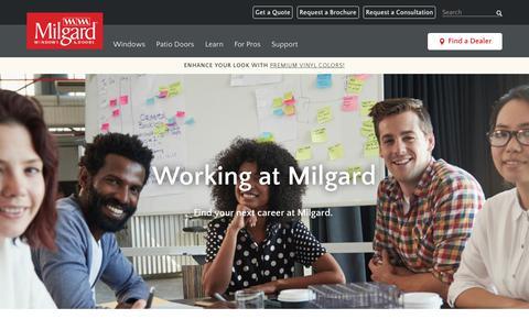 Screenshot of Jobs Page milgard.com - Careers | Milgard Windows & Doors - captured Sept. 23, 2018