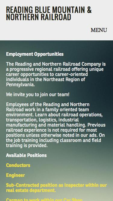 Screenshot of Jobs Page  rbmnrr.com - Careers — Reading Blue Mountain & Northern Railroad