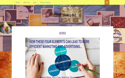Screenshot of Home Page marketingcommunicationsgroup.net - Evaluating and teaching small business marketing - captured Dec. 20, 2018