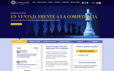 Screenshot of Home Page contactus.com.mx - CONTACTUS Contact Center - captured Oct. 1, 2014