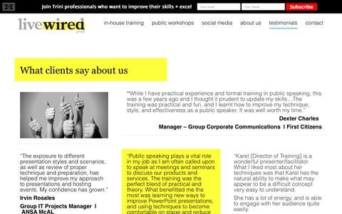 Screenshot of Testimonials Page livewiredgroup.com - testimonials | Livewired Group - captured July 20, 2018