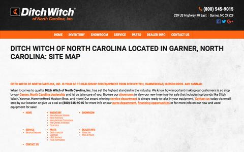 Screenshot of Site Map Page dwnc.com - North Carolina Ditch Witch Equipment Dealer | Construction Sales, Service & Parts | Trenchers, Mini Skid Steers, Directional Drills Garner, NC - captured Nov. 24, 2016