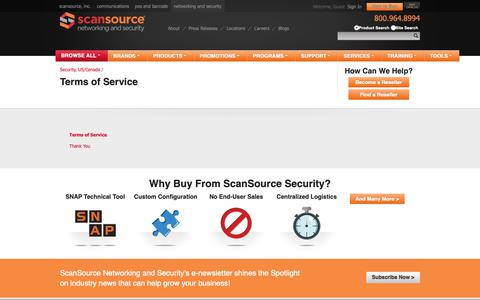 Screenshot of Terms Page scansourcesecurity.com - Terms of Service - captured Oct. 21, 2018