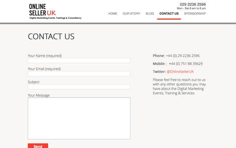 Screenshot of Contact Page onlineselleruk.com - eBay and Amazon Consultant, Digital Marketing and eCommerce Training consultant in Manchester, London, Birmingham, Bristol, Cardiff - captured June 30, 2016