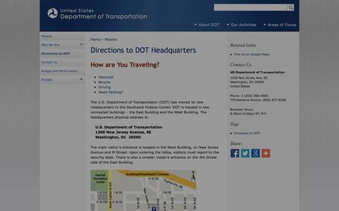 Screenshot of Maps & Directions Page dot.gov - Directions to DOT Headquarters | Department of Transportation - captured Oct. 3, 2014