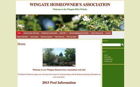 Screenshot of Home Page wingatehoa.com - Wingate Homeowner's Association - captured June 16, 2016