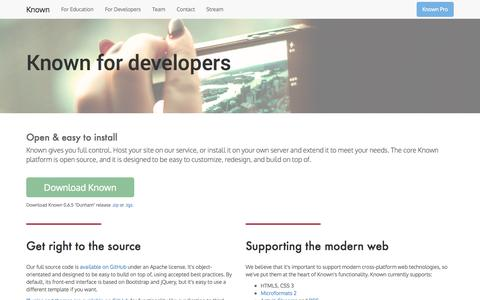 Screenshot of Developers Page withknown.com - Developers | Known - captured Dec. 17, 2014
