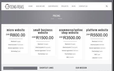 Screenshot of Pricing Page tec41.co.za - PRICING - Techno-Freaks - captured Nov. 29, 2016