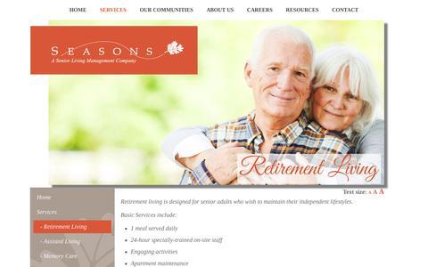 Screenshot of Services Page seasonsmanagement.com - Retirement Living - Seasons Management - captured Oct. 24, 2017