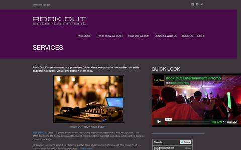 Screenshot of Services Page rockoutentertainment.com - Rock Out Entertainment DJ services Detroit Northern Michigan Southeast Michigan - captured Sept. 30, 2014