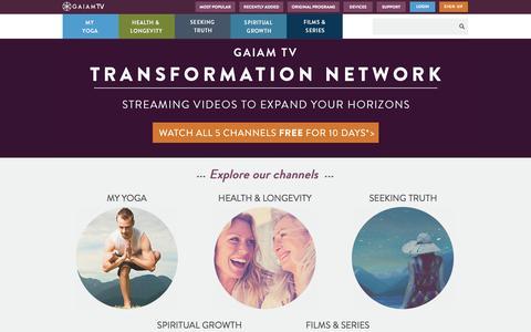 Screenshot of Home Page gaiamtv.com - Streaming Films, Original Interviews, Yoga & Fitness | GaiamTV - captured Sept. 19, 2014