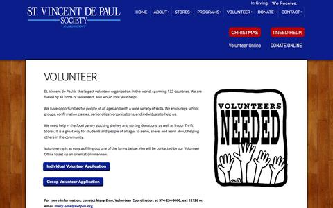 Screenshot of Signup Page svdpsb.org - St. Vincent de Paul Society of St. Joseph County - Sign-Up - captured Oct. 6, 2014