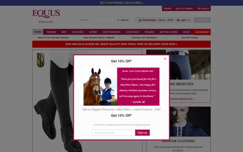 Screenshot of Home Page equus.co.uk - Shop equestrian clothing online. Best service & free UK delivery. — EQUUS - captured Oct. 14, 2016