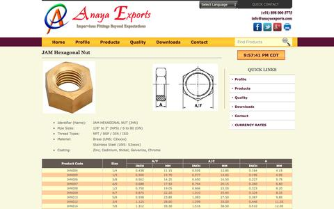 Screenshot of anayaexports.com - JAM Hexagonal Nut of Brass and Stainless Steel - captured May 11, 2016
