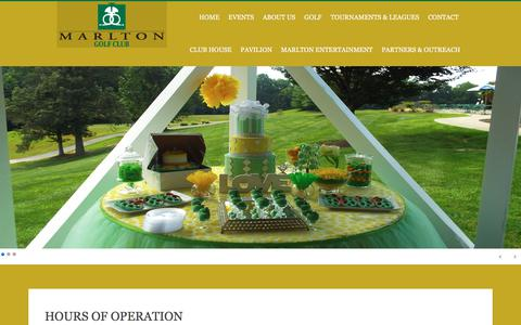 Screenshot of Hours Page marltongolf.com - HOURS OF OPERATION - captured July 3, 2018