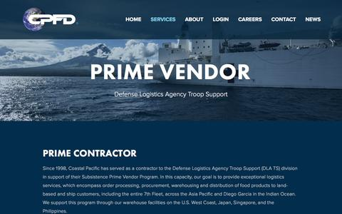 Screenshot of Services Page cpfd.com - Prime Vendor — CPFD - captured Nov. 8, 2016
