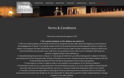 Screenshot of Terms Page naturalstoneveneer.co.uk - Natural Stone Veneer | Terms & Conditions - captured Feb. 13, 2016