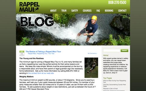 Screenshot of Blog rappelmaui.com - Rappel Maui | Rappelling and Canyoneering Tour in Private Maui Rainforest Valley - captured Oct. 9, 2014