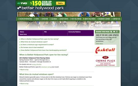 Screenshot of FAQ Page betfairhollywoodpark.com - Hollywood Park • FAQ - captured Nov. 11, 2018