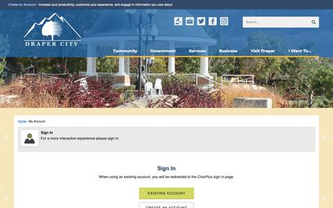 Screenshot of Login Page draper.ut.us - Draper City, UT - Official Website - captured Oct. 9, 2018