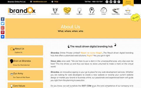 Screenshot of About Page ibrandox.com - India's Digital Marketing Company | 100% Guaranteed Results - captured Jan. 24, 2017