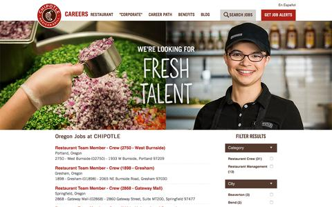 Screenshot of Jobs Page chipotle.com - Oregon Jobs at Chipotle| Careers at Chipotle - captured Sept. 25, 2018
