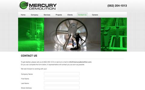 Screenshot of Contact Page mercurydemolition.com - Contact Us | Mercury Demolition - captured Oct. 27, 2014