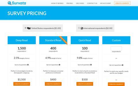 Screenshot of Pricing Page survata.com - Survata: Survey Pricing - captured July 20, 2014