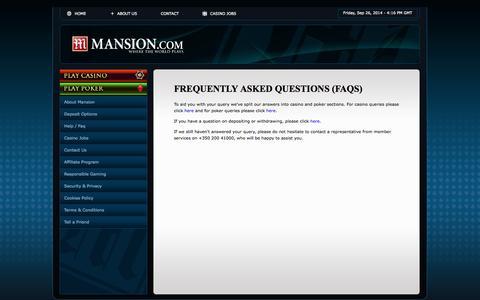 Screenshot of FAQ Page mansion.com - Online Casino - captured Sept. 26, 2014